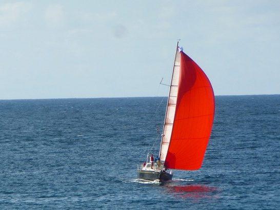 Spi bien réglé, le voilier de croisière Lord Jim, de retour en Bretagne après un stage hauturier en Irlande